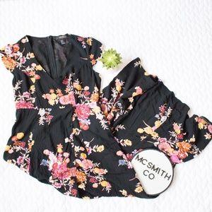 ✨Forever 21 | NWOT Black Floral Romper Maxi Dress
